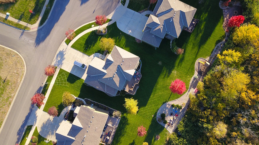 Arial shot of houses